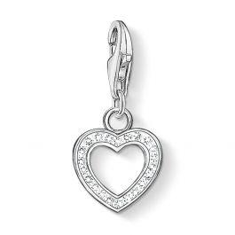 Thomas Sabo Women-Charm Pendant Heart Charm Club 925 Sterling silver Zirconia White 0967-051-14